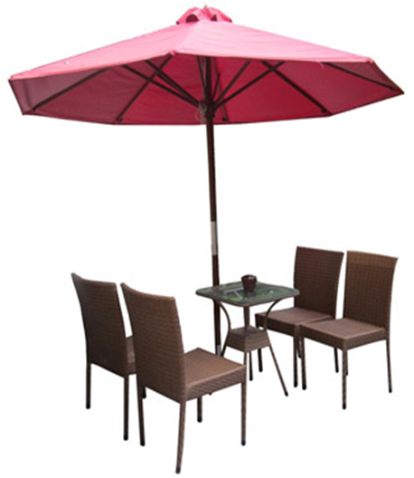 set of PE rattan coffee table with 4  chairs and 1 umbrella.