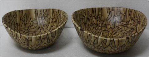 Set of 2 oval bowls with incrusted bamboo