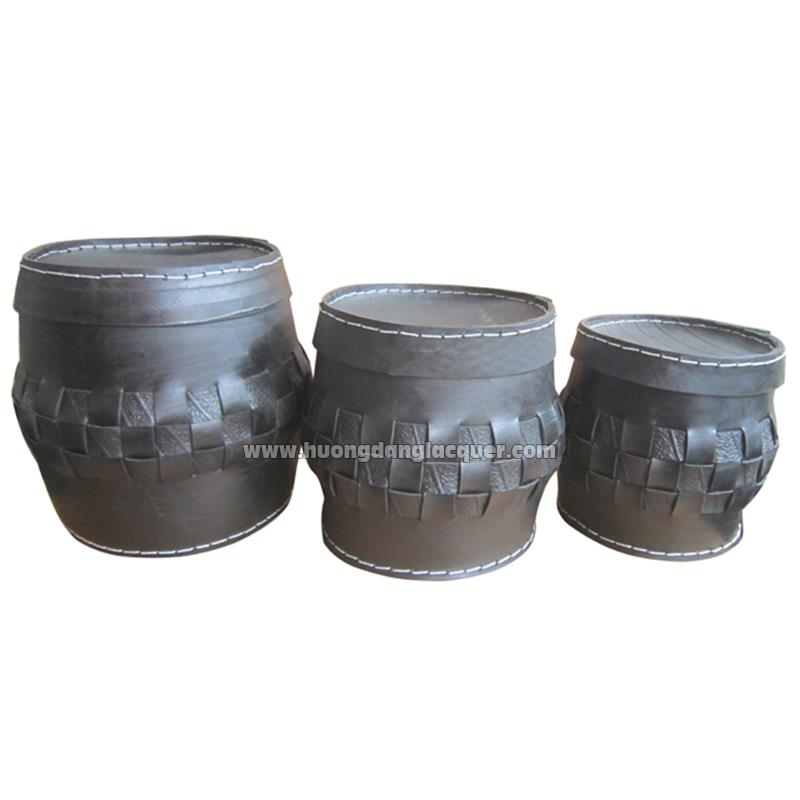 set of 3 rubber buckets with lid