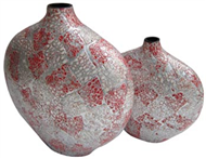 set of 2 low vases with eggshell