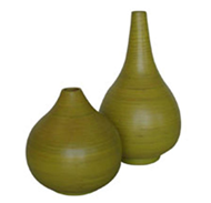 set of 2 bamboo vases