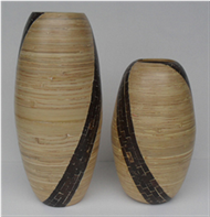 set of 2 vases with coconut inlay