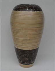 bamboo vase with coconut inlay