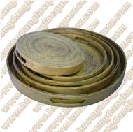 set of 5 bamboo round trays
