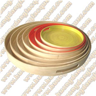set of 7 bamboo round trays