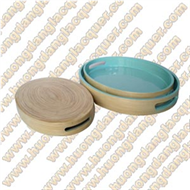 set of 3 bamboo round trays