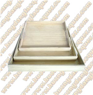 set of 3 bamboo square trays