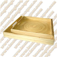 set of 2 bamboo square trays