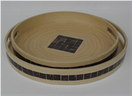 set of 2 round trays with coconut inlay