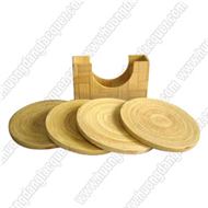 bamboo square box with 6 coaters