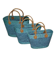 Vietnam Water hyacinth bag with leatherete handles Set 3