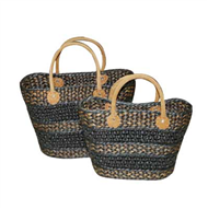 Vietnam Water hyacinth bag with leatherete handles Set 2