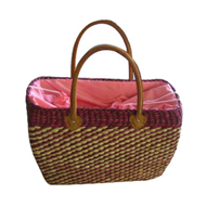Vietnam Water hyacinth bag with leather handles