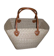 Vietnam Sedge handbag with leatherette handles