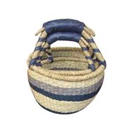 Vietnam Sedge basket with leatherette handles set 2