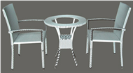 set of PE rattan coffee table & 2 chairs