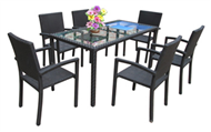 set of PE rattan coffee table & 6 chairs