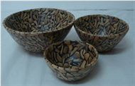 Set of salad 3 bowls with incrusted bamboo