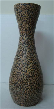 large vase with incrusted bamboo