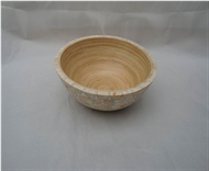 Round bowl with incrusted bamboo