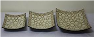 set of 3 square plates with incrusted bamboo