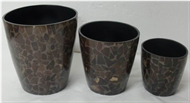 set of 3 flowerpots with incrusted bamboo