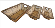 Set of 3 bamboo trays