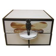 square box with dragonfly key